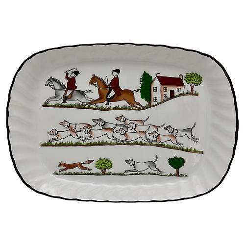 English Hunting Scene Butter Tray