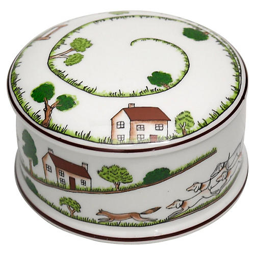 English Hunting Scene Trinket Box