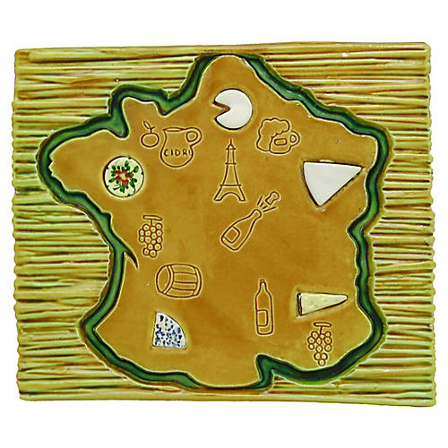 Mid-Century French Majolica Cheese Board