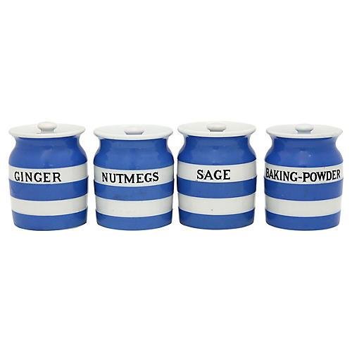 English Cornishware Spice Jars, 4 Pcs