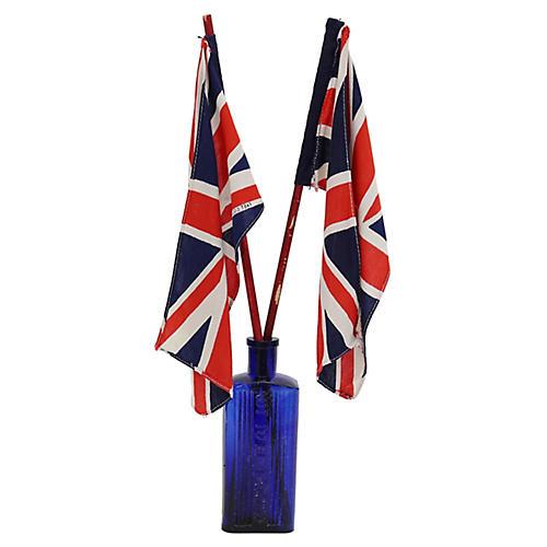 Union Jack Parade Flags & Cobalt Bottle