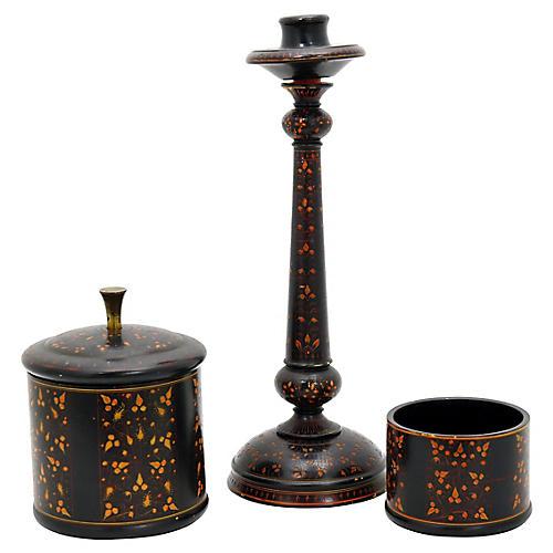 Antique English Tole Smoking Set, 3Pcs