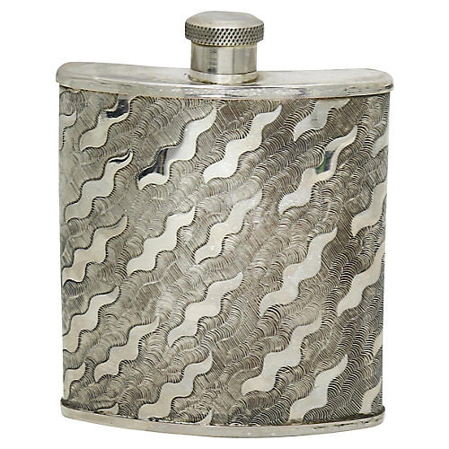 English Silver-Plate Hip Flask
