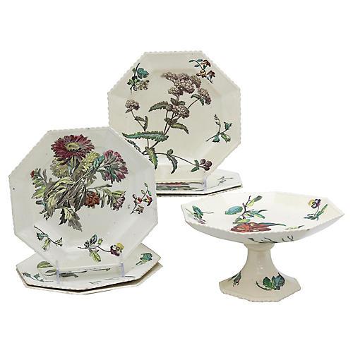 Antique Copeland Creamware Set, 7 Pcs