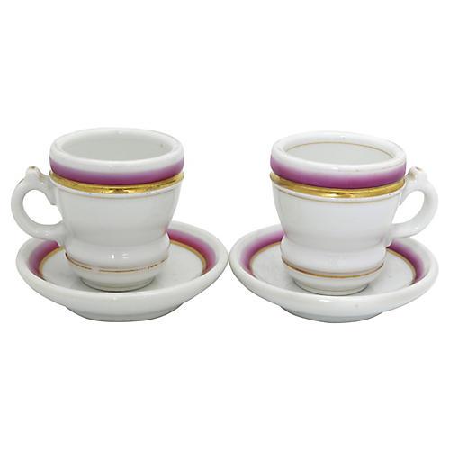 Antique French Tasse Brûlot Cups, Pr