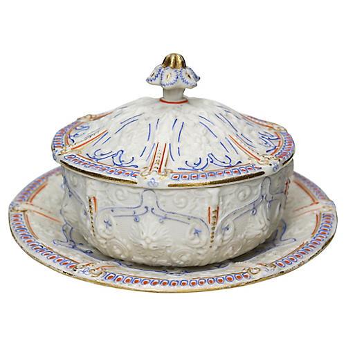 Antique Salt Glaze Covered Serving Dish
