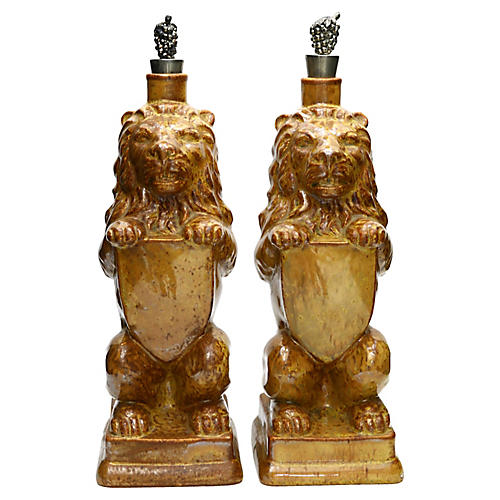 Figural Lion Decanters, Pair