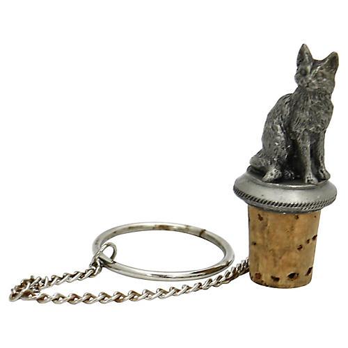 Silver-Plate Cat Wine Stopper