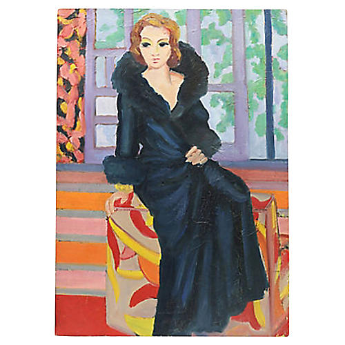 Mid-Century Oil Portrait of French Woman