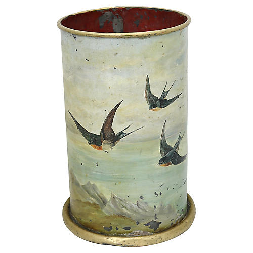 Antique Hand-Painted Tole Umbrella Stand