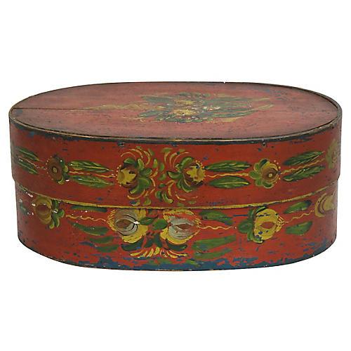 Antique English Tole Bride's Wedding Box