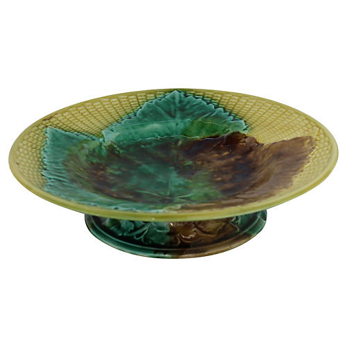 Antique English Majolica Leaf Cake Plate