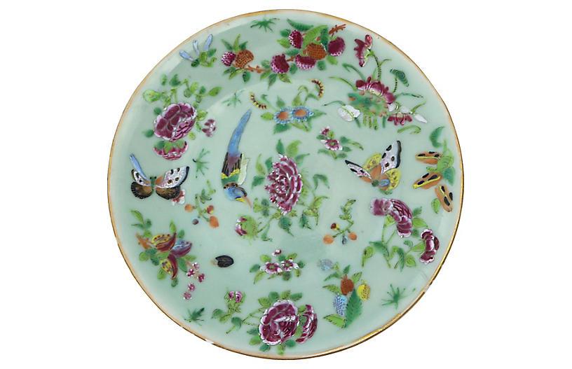 Antique Celadon Plate w/ Flowers