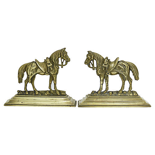Antique Brass Horse Fireplace Ornaments