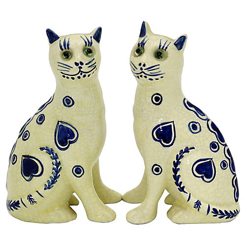 Art Deco French Faience Cats, Pair