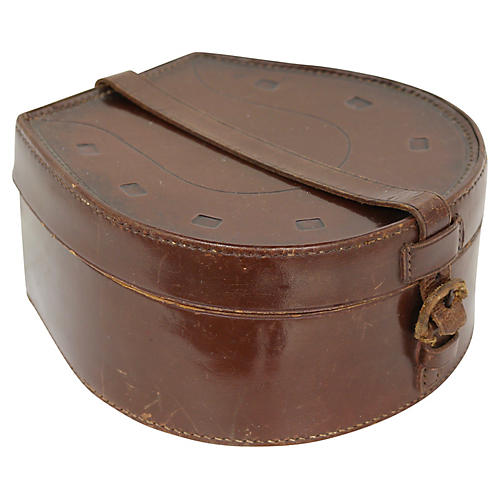 Antique Leather Horseshoe Vanity Box