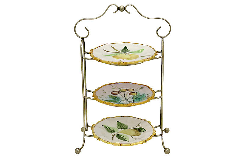 Italian Faience Tiered Serving Tray