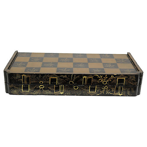 1850s Chinese Lacquered Game Board / Box