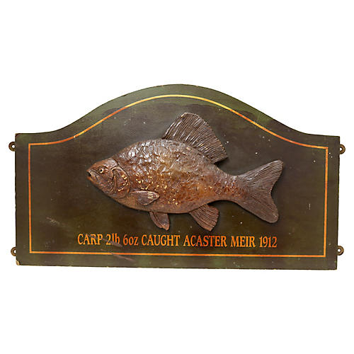 Antique 1912 Fishing Lodge Carved Trophy