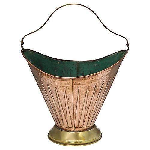 Hand-Made English Copper Bucket w/Green