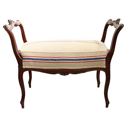 Antique French Vanity Bench w/Grain Sack