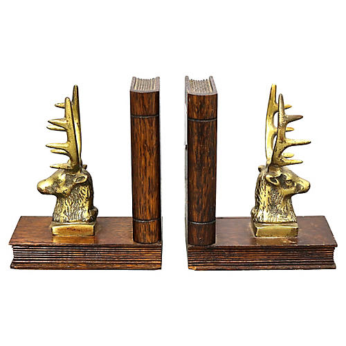 Antique Brass Stag Bookends, Pair