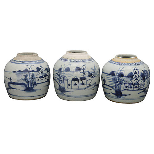 Antique Chinese Export Ginger Jars, S/3