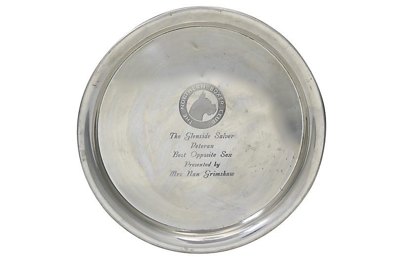 English Silver-Plate Boxer Dog Trophy