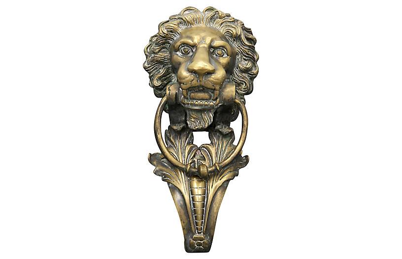 Huge 19th-C. Bronze Lion Door Knocker