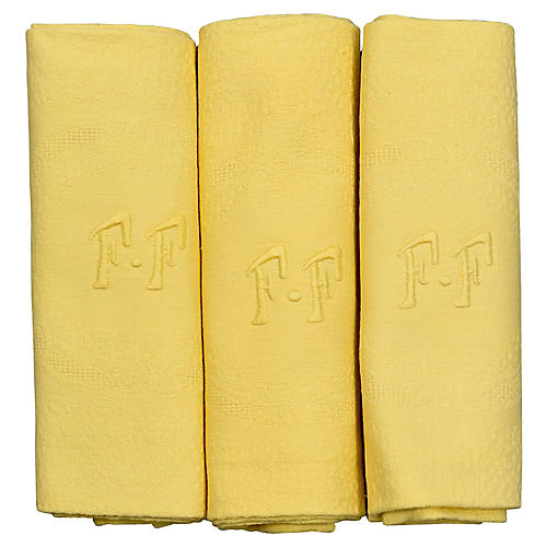Antique French Organic Dyed Napkins, S/6