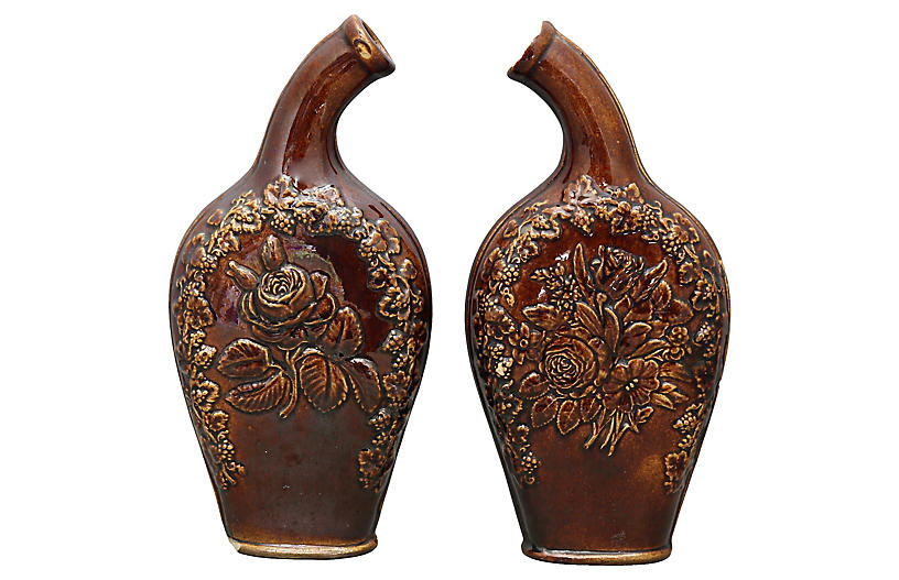 Antique English Stoneware Flasks, Pair