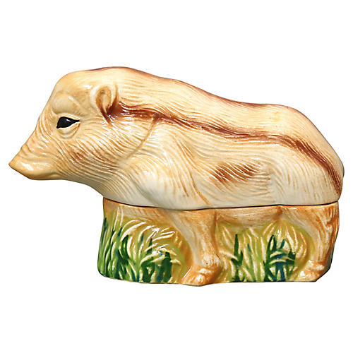French Majolica Boar Pâté Tureen
