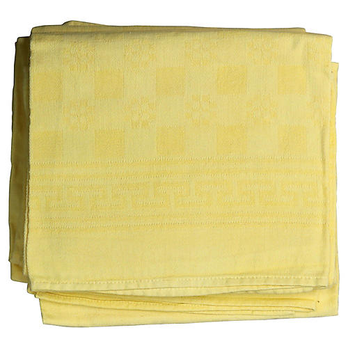 Antique French Yellow Linen Napkins, S/6