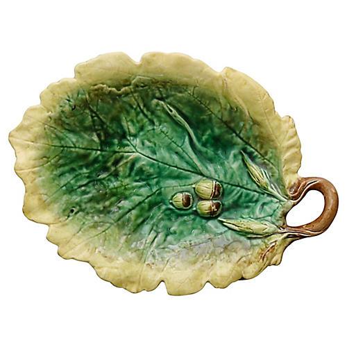 Antique English Oak & Acorn Serving Dish