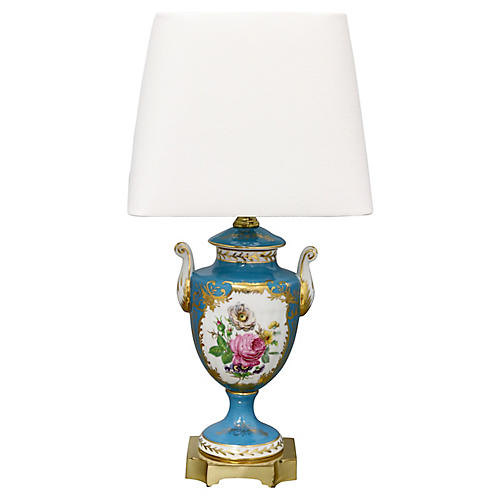 Antique Hand-Painted Porcelain Urn Lamp