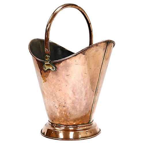 Antique Copper Fireplace Bucket