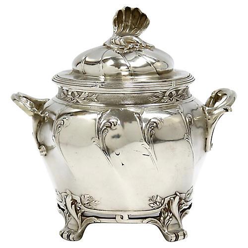 French Silver-Plate Sugar Bowl