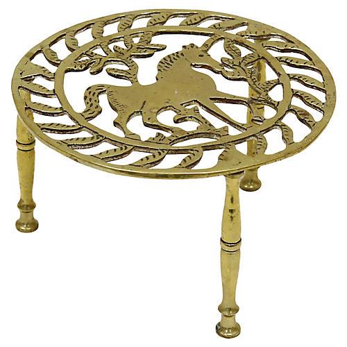 Antique English Brass Unicorn Trivet