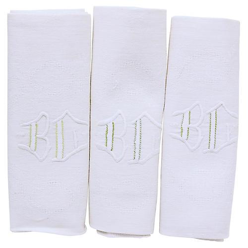 "Antique French Linen ""BC"" Napkins, S/12"