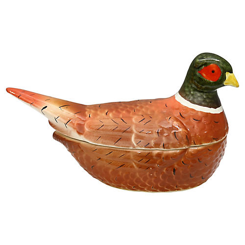 French Majolica Pheasant Tureen