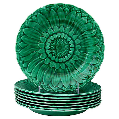 Wedgwood Majolica Sunflower Plates, S/8