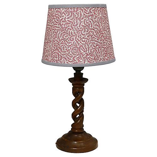 English Open Twist Oak Lamp w/ Shade