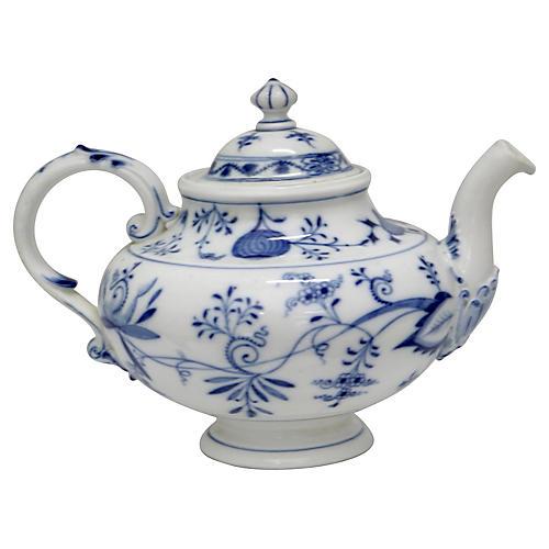Antique Meissen Blue Onion Teapot