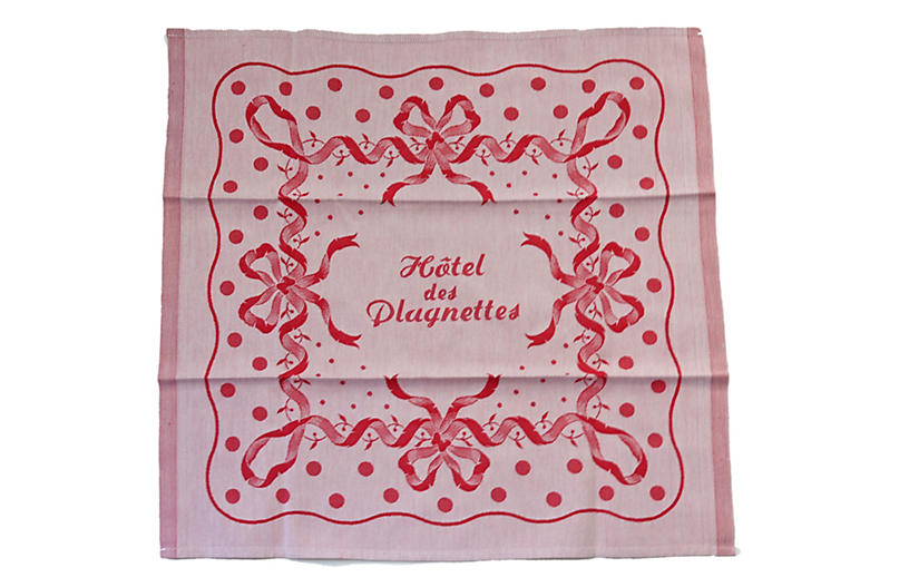 1920s French Hotel Dinner Napkins, s/6