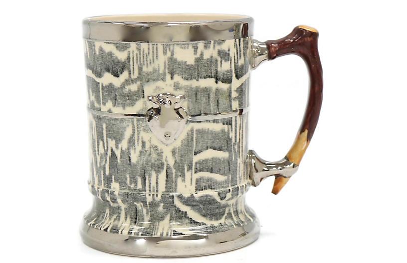 1930s Silver Shield Faux Bois Tankard