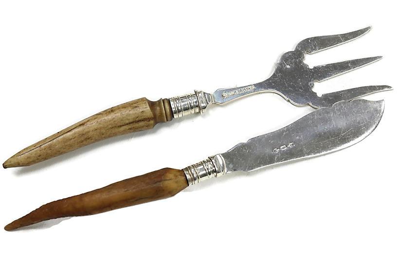 English Horn Handled Toast & Butter Set