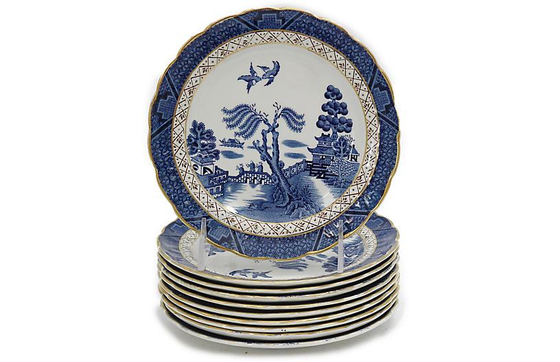 English Willow Dessert Plates, S/10