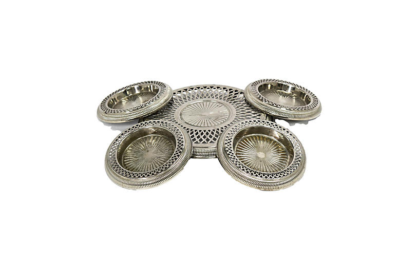 French Silver Plate Wine Coasters, 5-Pcs