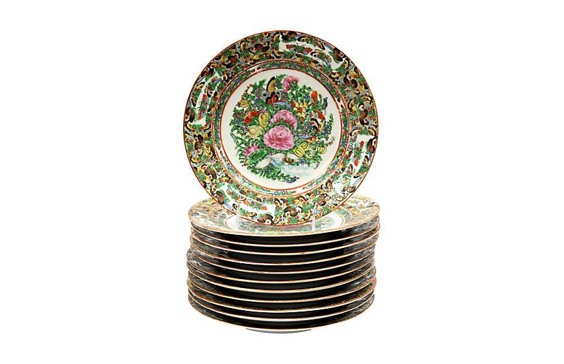 Rose Medallion Butterfly Dinner Plates