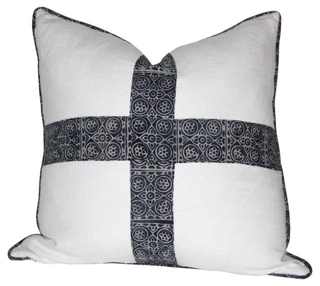 Indigo Batik   Cross Pillow